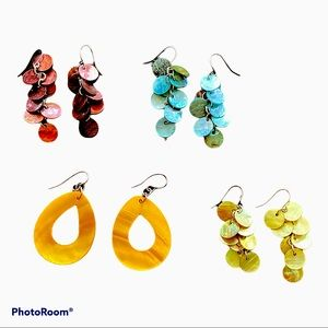 4 pr. Colorful pearlescent earrings